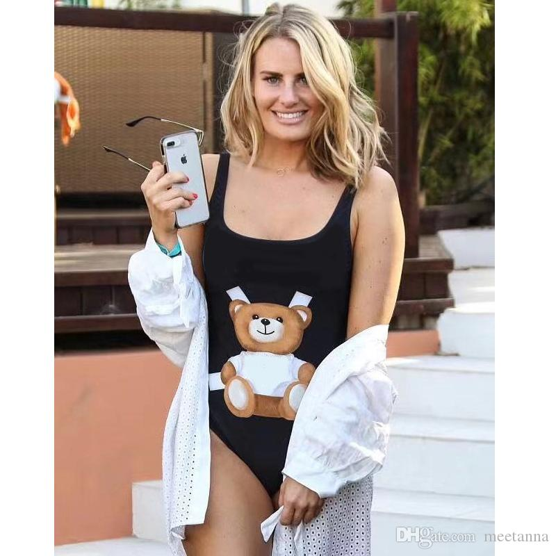 Hot Brand Letters Luxus Badeanzug Monokini Frauen Cute Bear Backless Badeanzug Designer Gepolsterte Bikini Bademode