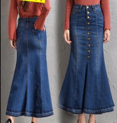 7XL 8XL otoño nuevo de las mujeres del dril de algodón de la falda de cintura alta Sexy Mujer riza la falda delgada Tamaño más largo mezclilla Casual Faldas JR34