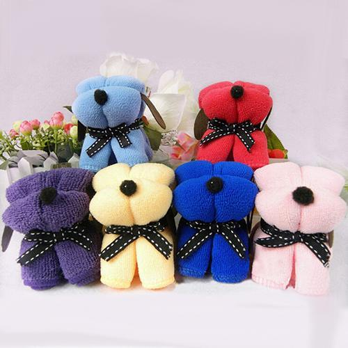 Cute Dog Cake Shape Towel Soft Breathable Cotton Washcloth Wedding Gifts Present Home & Garden