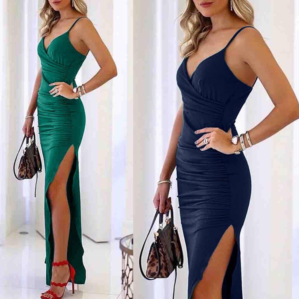 2019 sexy elegante vintage high split frauen v-ausschnitt solide sling kalten ärmellosen bodycon schlanke abendgesellschaft sommer langes kleid