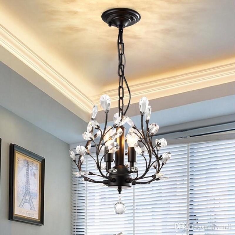 3-luz de cristal lustres luzes de teto de cristal pingente de iluminação de teto preto luminárias para sala de estar quarto sala de jantar varanda