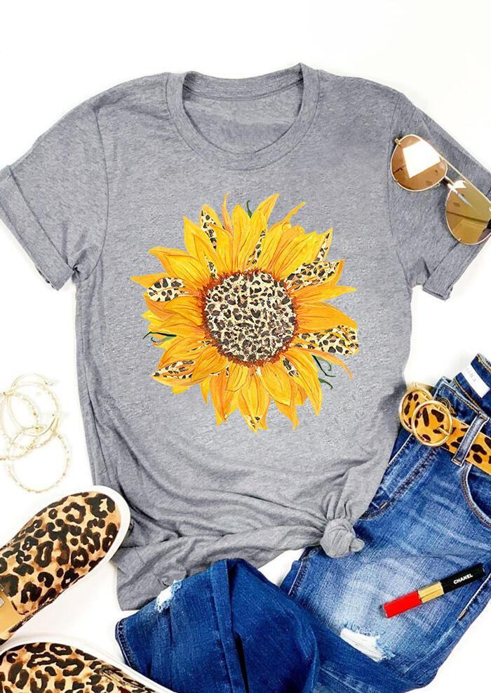 Verano nueva moda girasol impreso camiseta mujer o-cuello manga corta leopardo camiseta Tops suelta más tamaño