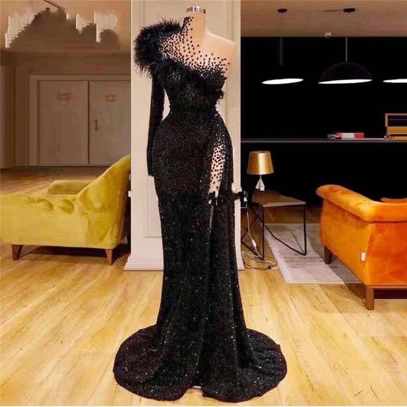 Preto um ombro glitter vestidos de festa de penas mangas compridas vestidos de baile 2020 nova chegada saudita árabe formal kaftans vestidos de noite