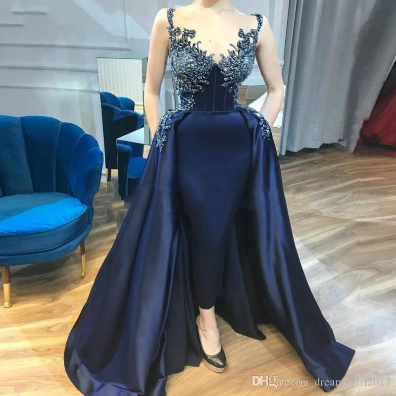 Gorgeous Sheath Beads Evening Dresses 2019 African Satin Navy Blue Sweetheart Prom Gowns Vestido de noche Formal Pageant Party Dress