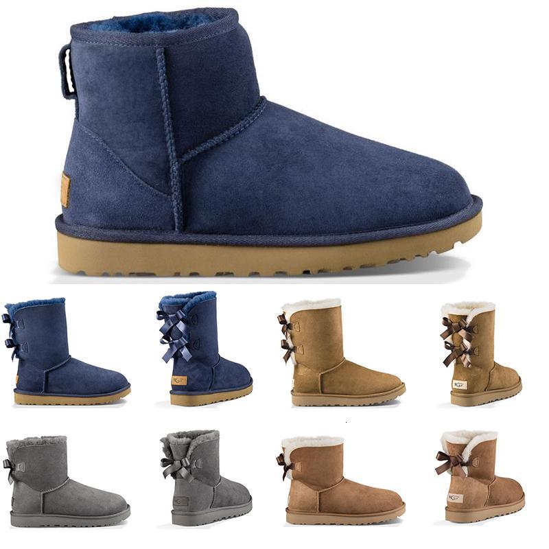 Vintage Lüks Tasarımcı Avustralya Kadınlar Kış Kar Boots Klasik Bilek Diz çök Kısa Bow Kürk Boot Siyah Kestane Platformu Sneakers Ayakkabı