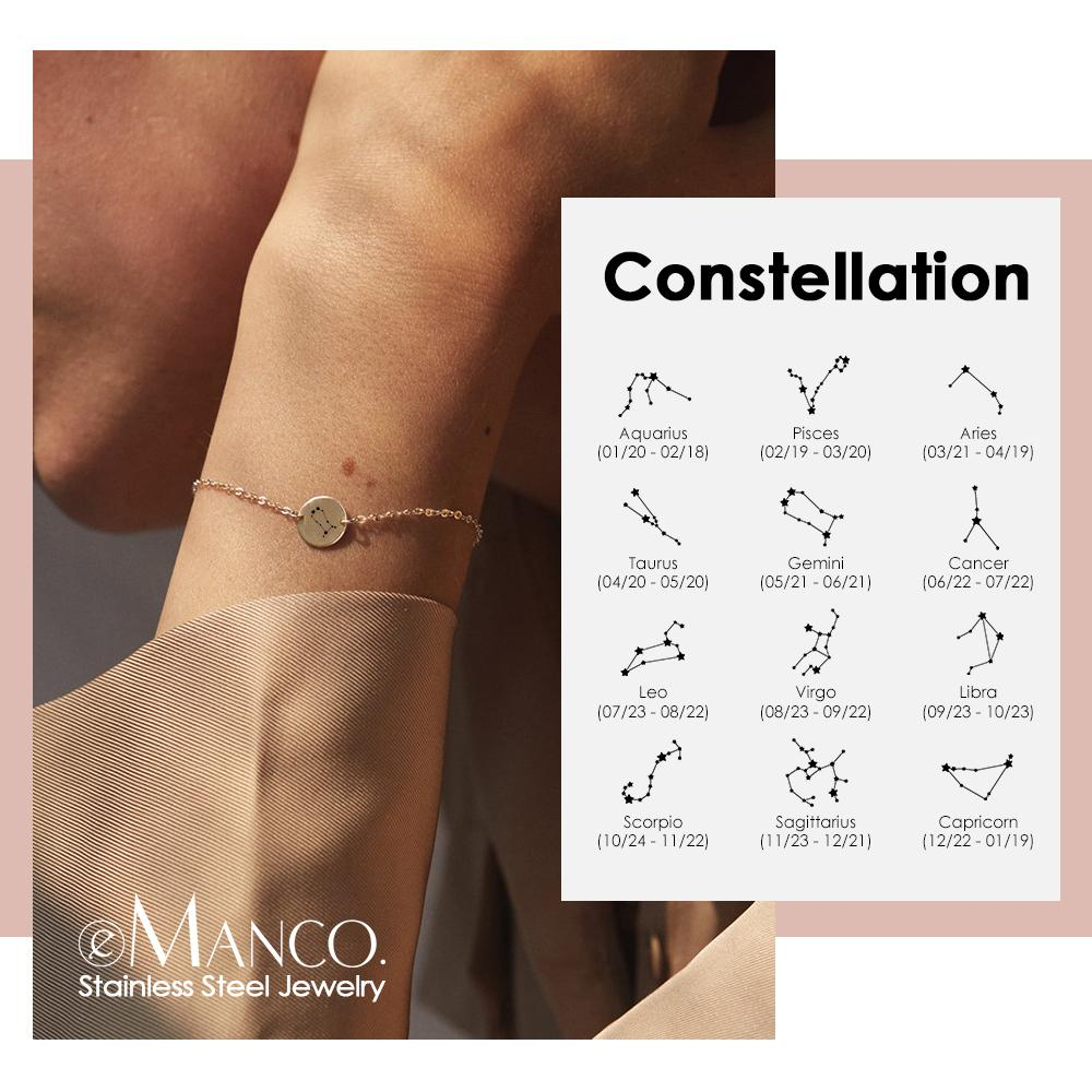 eManco Initial Constellation Bracelet women Gold Color Stainless Steel Bracelet Minimalist Wrist Jewelry for women Y200323