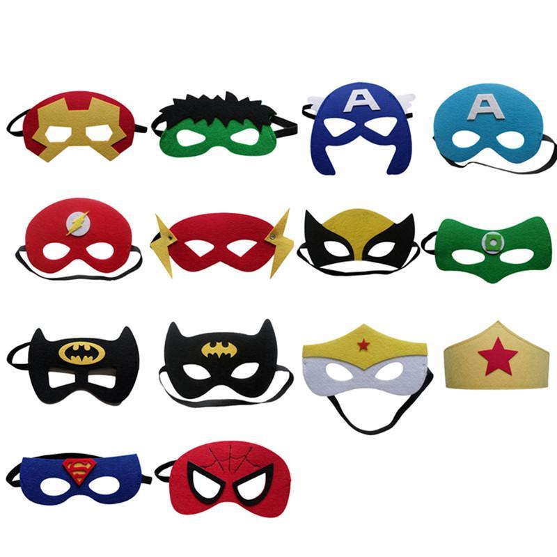 15 adet / grup Masquerade Bebek Çocuk Çocuk Süper Kahraman Süper Kahraman Yarım Yüz Göz Maskesi Kostüm Partisi Cadılar Bayramı Maskeleri Doğum Günü Hediyeleri