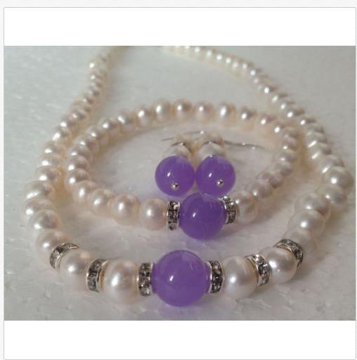 "7-8MM White Akoya Cultured Pearl/Alexandrite bracelets necklace earrings set 18"""