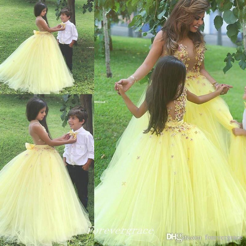2019 Cute Yellow Flower Girls Dress High Quality See Though Tulle Floral Appliques Floor-Length Long Special Occasion Dresse Pageant Dress