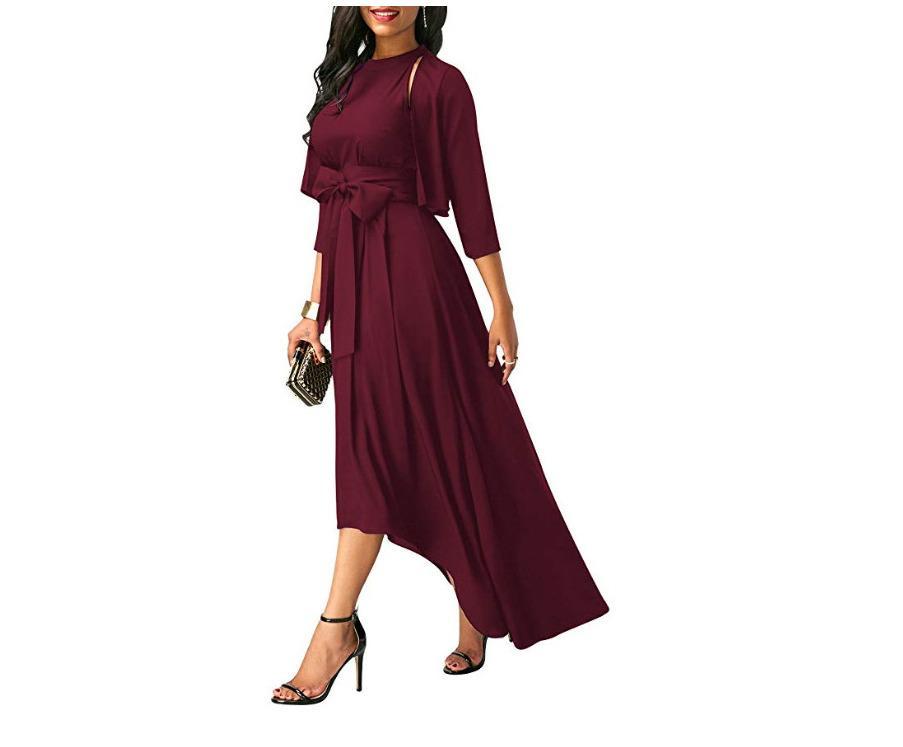 أسود أحمر الربيع زائد حجم الرسن ماكسي اللباس أنثى مثير أكمام Partywear إمرأة القوس Peplum هيم تركيب فساتين فام 5XL Y19051001