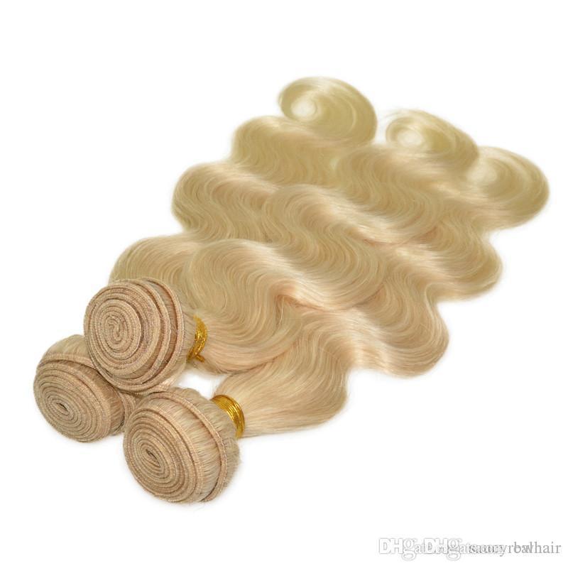 شقراء اللون 613 # حزم الشعر ابيض طول 10-28 بوصة 100 ٪ الانسان الشعر نسج غير ريمي الشعر ، تشابك sheddingfree مجانا