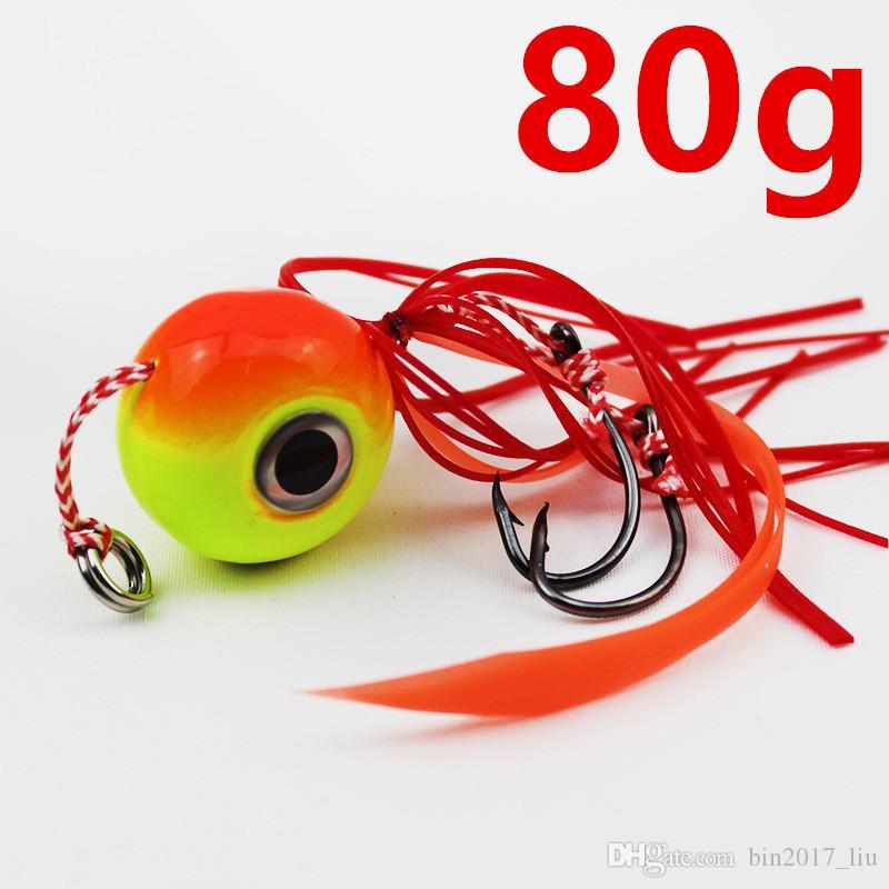 5pcs 80g Jigs Gancho Ganchos de pesca anzóis de metal Iscas Iscas de d-008