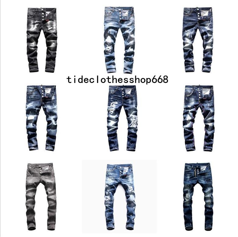 남성 dsq2 ds2 자수 d2 바지 패션 구멍 바지 이탈리아 크기 44-54 2020 최고 브랜드 Dsquared2 청바지 남성 청바지 남성 데님 검은 색 dsquared2 jeans