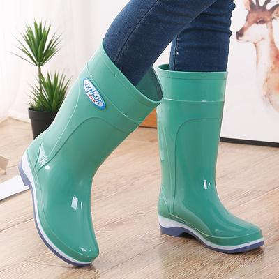 Hot Women/'s Rain Boots Anti-skid Shoes Waterproof Middle Tube Rubber Overshoes