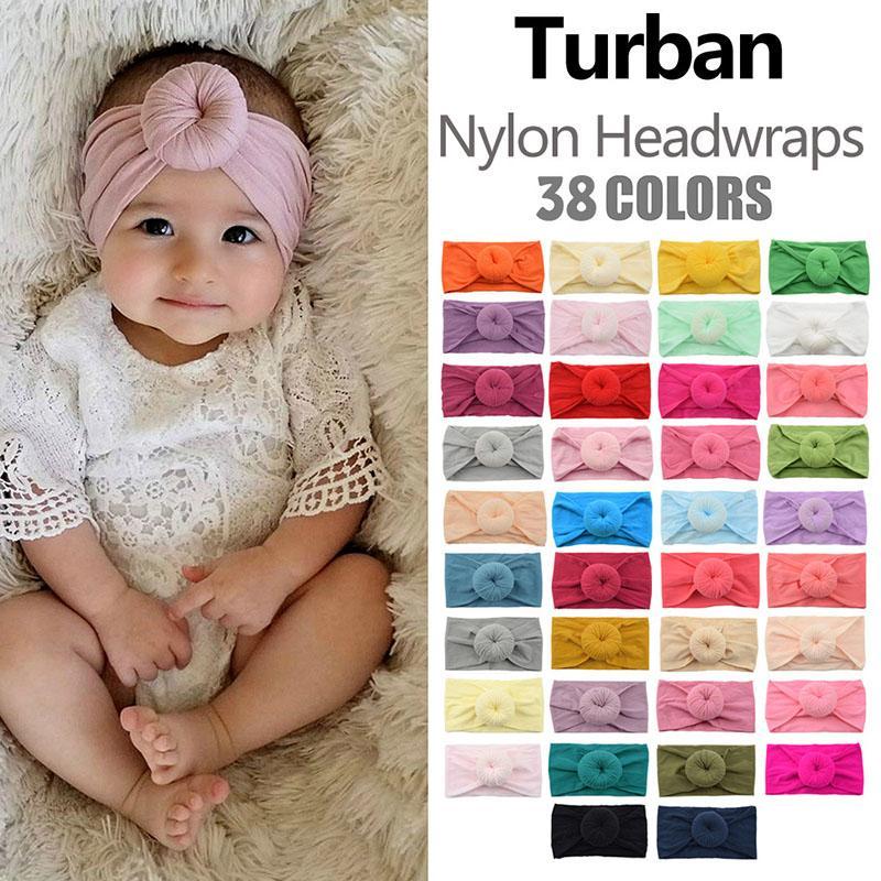 Süper yumuşak Naylon Knot Baş bandı için Bebek Kız Bebek Turban Headwraps Saç Aksesuarları PhotoProp Kız Saç Aksesuarları 0601914