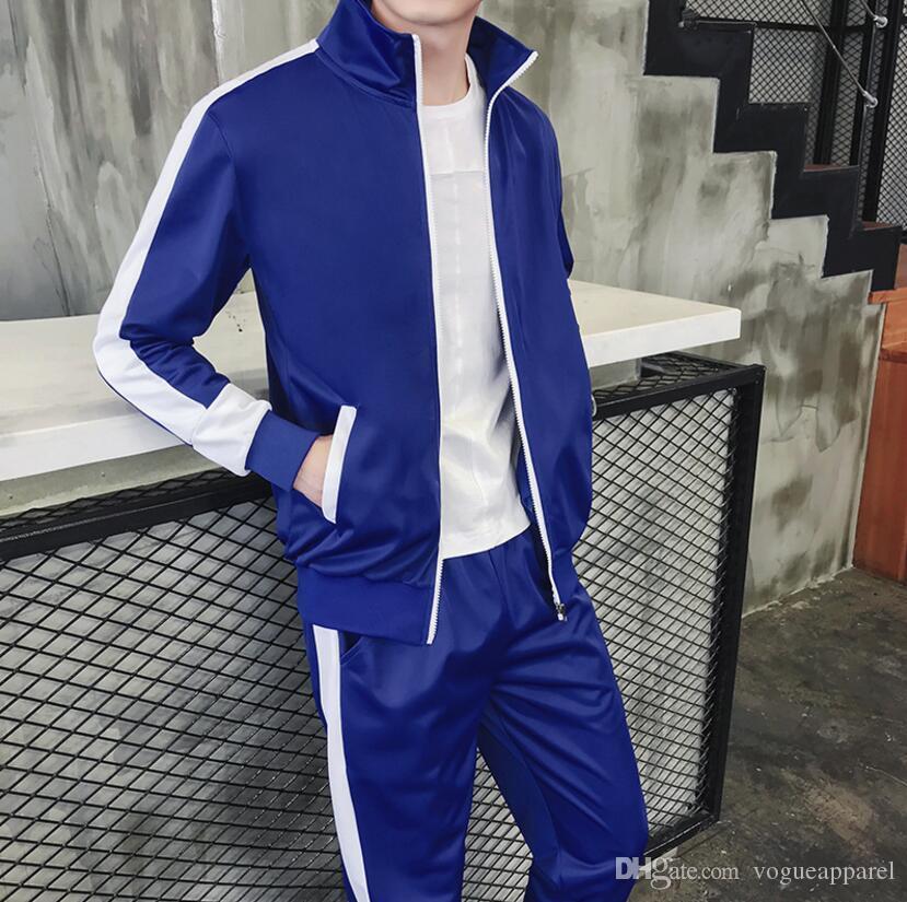 Slim Mens с цветными 2 точками Длинные куртки наряды контрастность молнии капюшон трексуиты брюки потрясающие брюки PCS SETVTRACKSUIT TOBPE