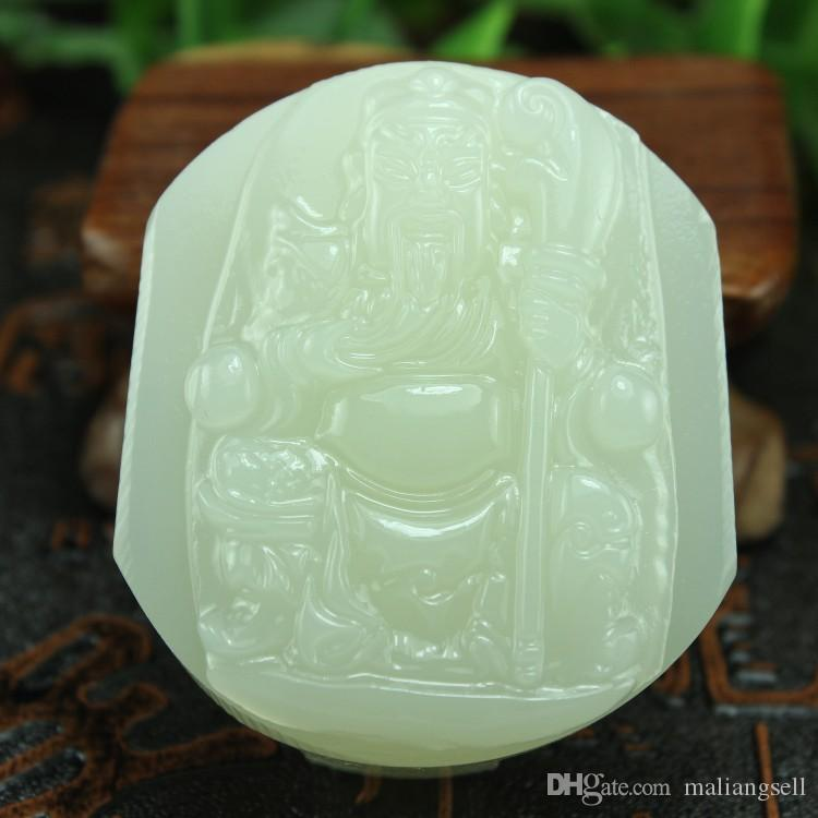Free shipping White jade Guan Gong belt buckle men's fat grade white jade men's waist with the God of Wealth