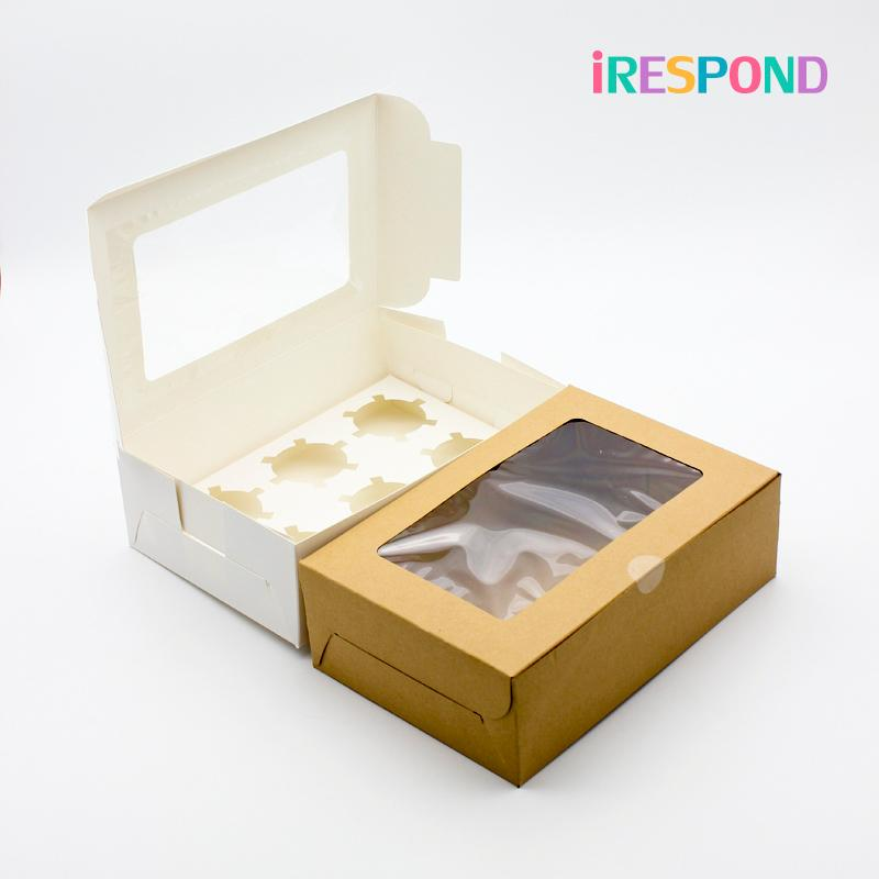 Papier 6PCS Petit gâteau Boîte mariage blanc cadeau Dessert bonbons Big Craft boîte d'emballage avec un gâteau de Windows Cup Boîtes 6 Porte-Cupcake