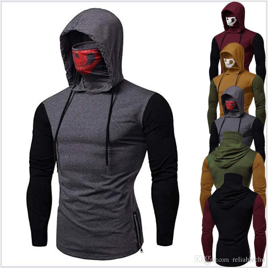 Пуловер с капюшоном футболки с капюшоном высокий лоскутный модный воротник 2021 поступление в замаскированные панели футболки дизайн мужчины новый череп с длинным рукавом цвет GKVKW