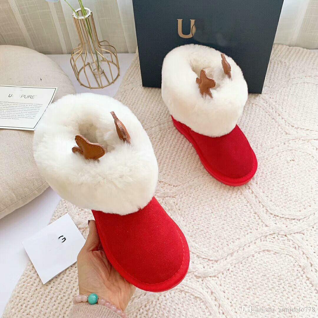enfant mode cadeau de noël nouvelles bottes enfant australie bébé fille chaussures de neige classique 100% laine U-G001