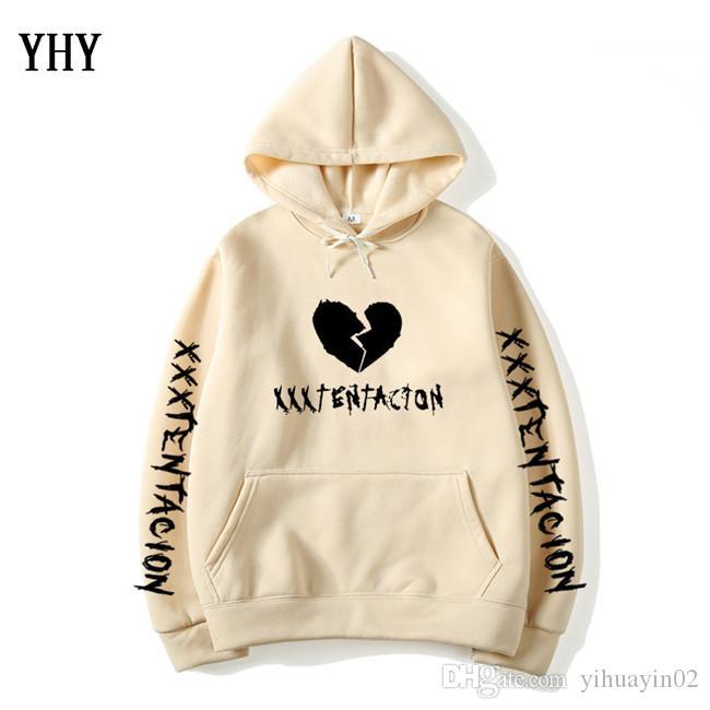 Fashion Broken Heart Xxxtentacion Printed Long Sleeve Inside Fleece Casual Pullover Hoodie Sweater Sweatshirt Jacket Tops EL-13