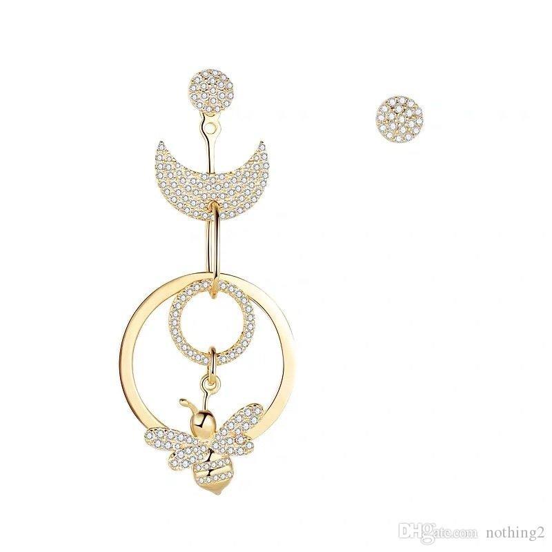 Women earrings love crystal Bee Silver Plated earrings women high quality jewelry Women Party Gift