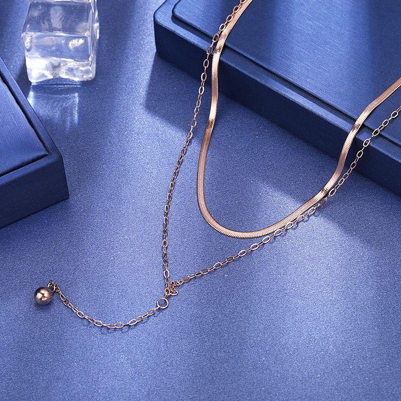 BOBOTUU титан стал двухслойной цепь змейки чокеровщика ожерелья для женщин розового золота кисточки ожерелья шарик RN02331