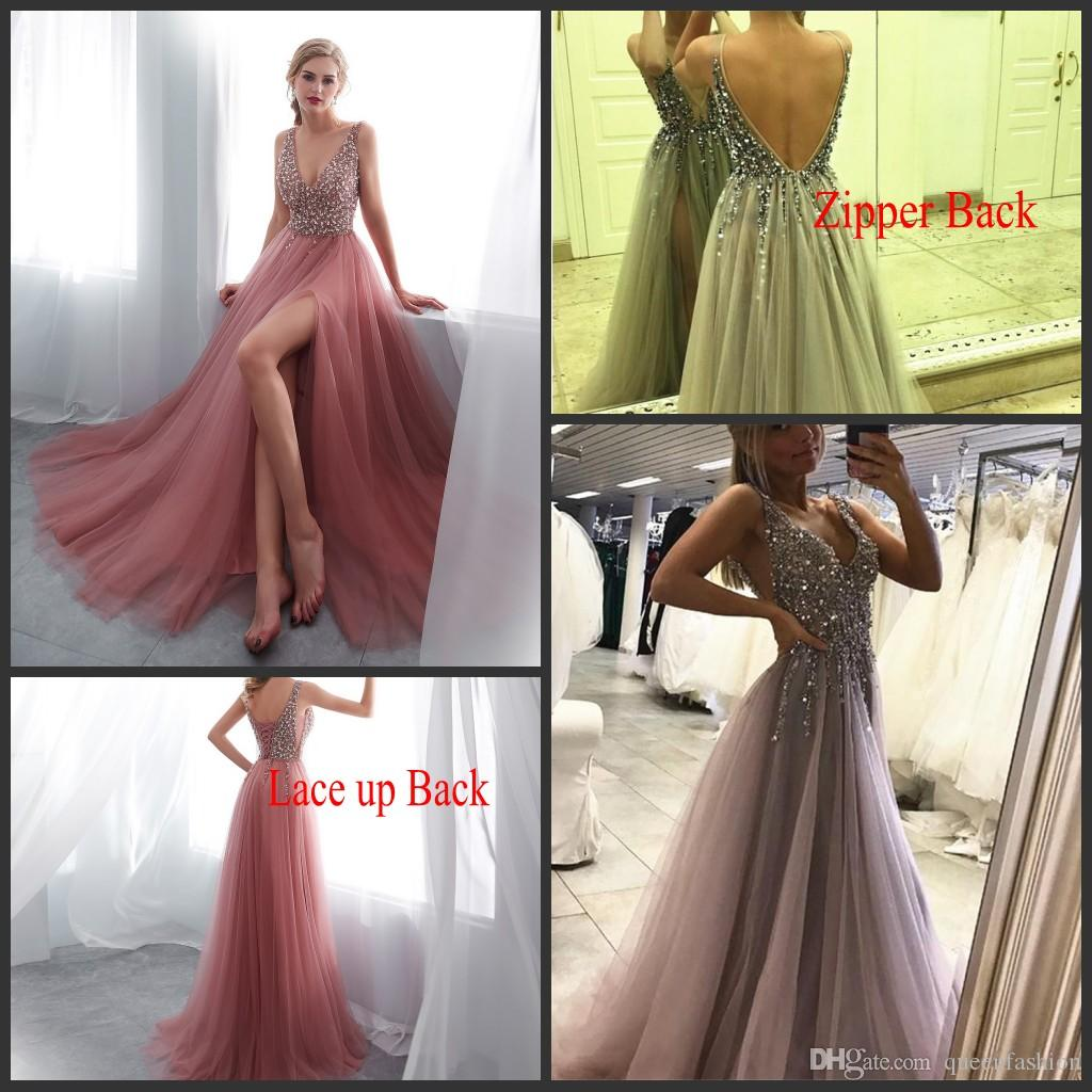 Sexy Prom Dresses 2021 High Split Crystal Beaded Evening Gowns Tulle V-Neck Low Back Women Formal Dress Long