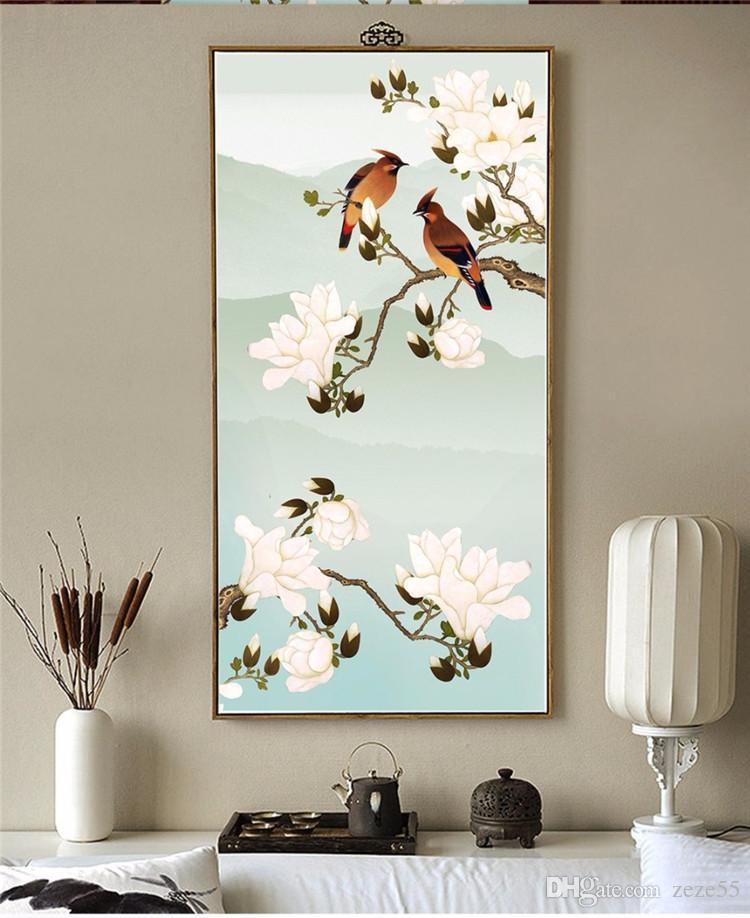 사용자 정의 배경 화면 3d 손으로 그린 꽃과 올레이 장식품 벽지의 새로운 중국 스타일의 현관 배경의 새