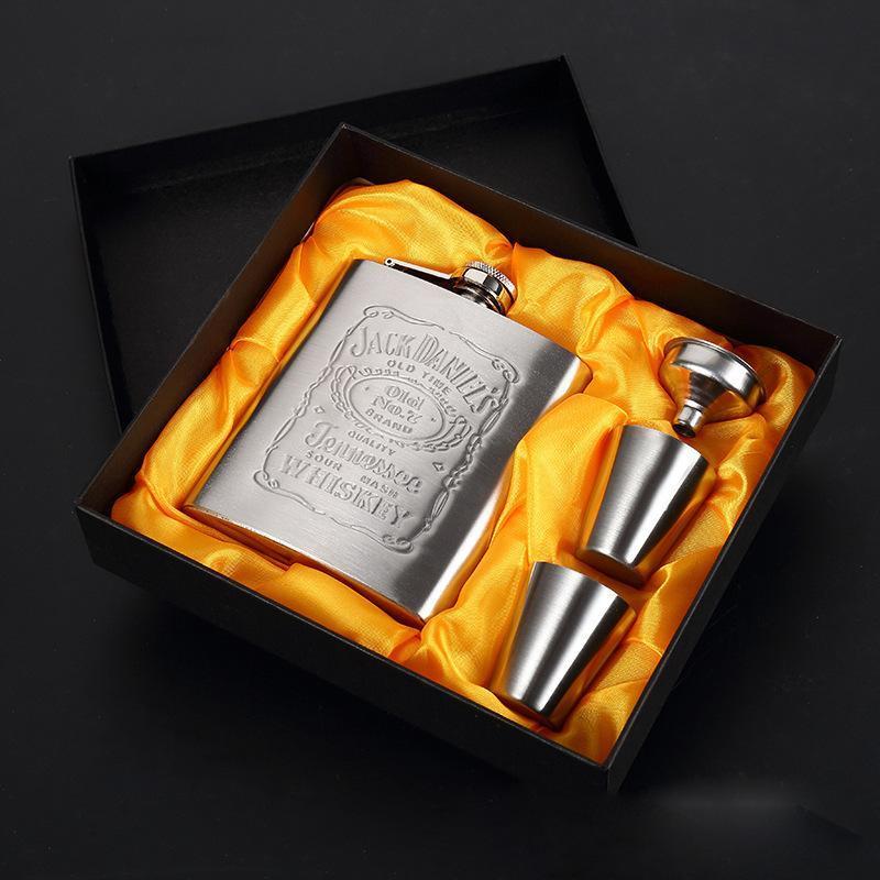 Küçük Cep Şarap Şişeleri Seti ile Şarap Cam Huni Özelleştirilebilir Hip Flask Açık Taşınabilir Paslanmaz Çelik 7oz Hip Flask Seti DHD604
