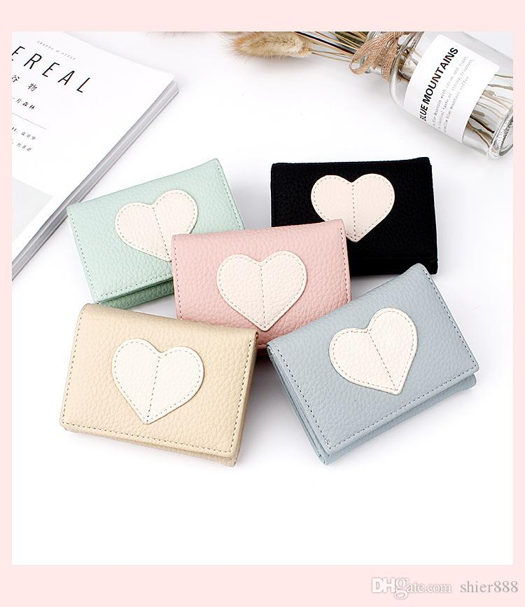 Hearts PU Wallets Multi-card High Quality Women Wallet 5 colors PU fashion wallet casual thin coin purse three fold short ladies wallet