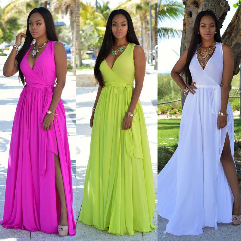 نساء العلامة التجارية الجديدة صيف طويل ماكسي حزب اللباس BOHO شاطئ فساتين بدون أكمام V الرقبة فستان الشمس الصلبة الزنانير اللباس