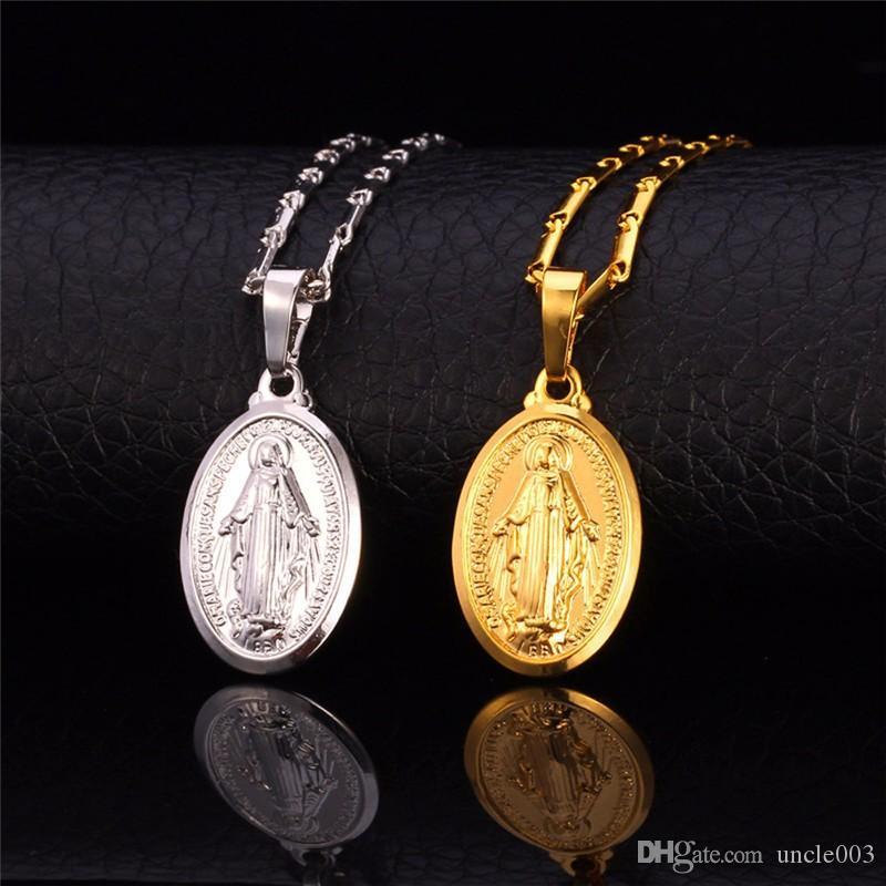 Высокое качество Крошка Богородица ожерелье Рождественский подарок серебро / золото Цвет Christlicher Cross Медальон Женщины