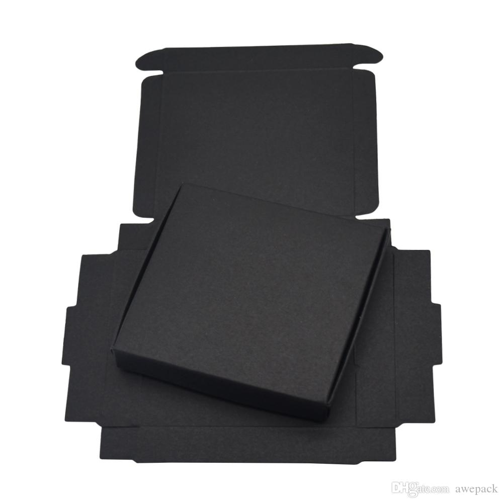 9x8.6x1.6cm Black Cardboard Paper Gift Boxes for Wedding Birthday Favors Candy Crafts Wrapping Box Foldable Kraft Package Box 50pcs/lot