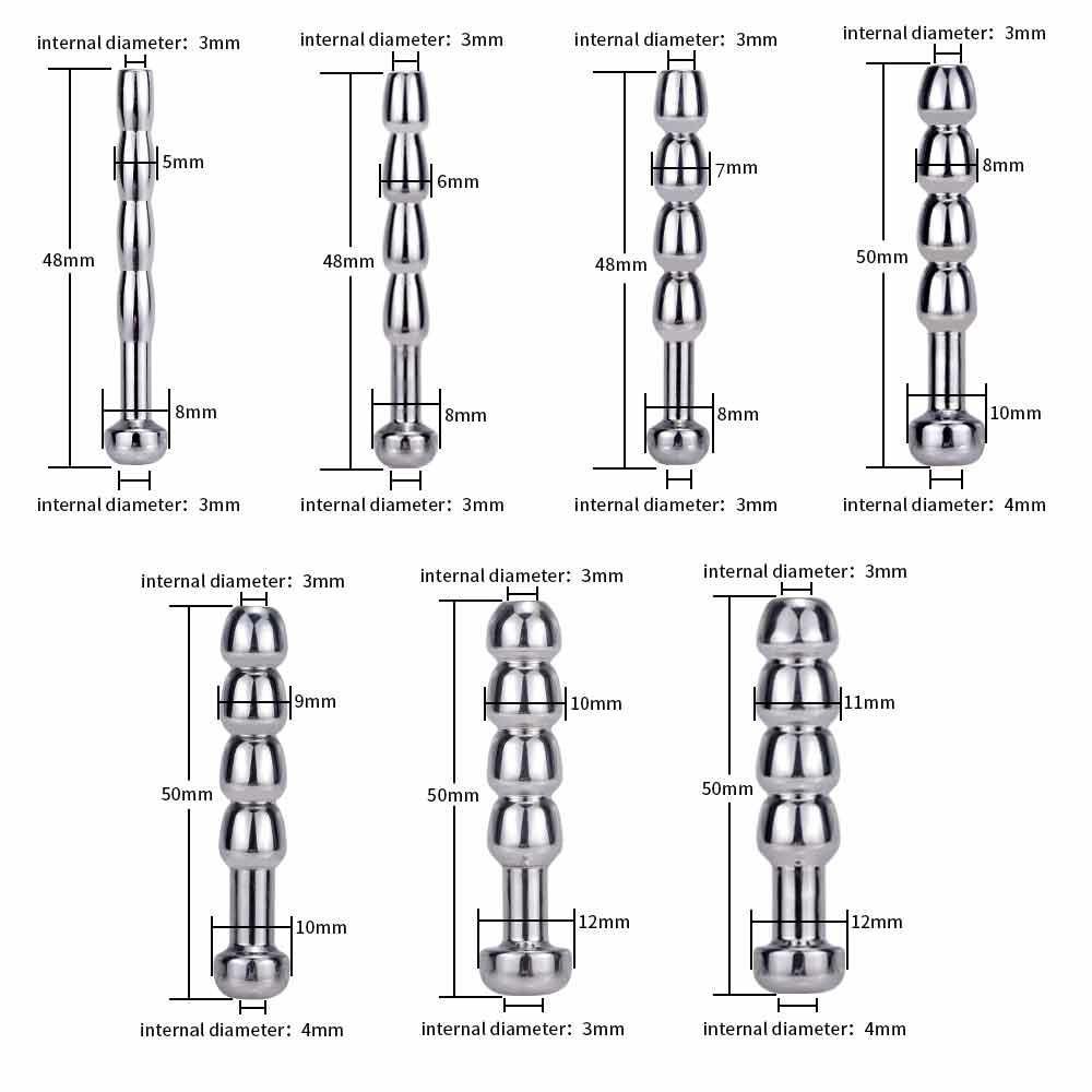 7 Tipo del metallo dell'acciaio inossidabile Pene Plug uretrale dilatazione dell'occhio del cavallo del bastone del pene stimolazione: Uomo BDSM giocattoli del sesso Butt Plug