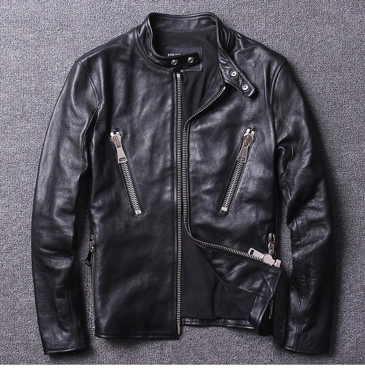 Tanming Mens Stand Collar Biker Faux Leather Jacket Outerwear