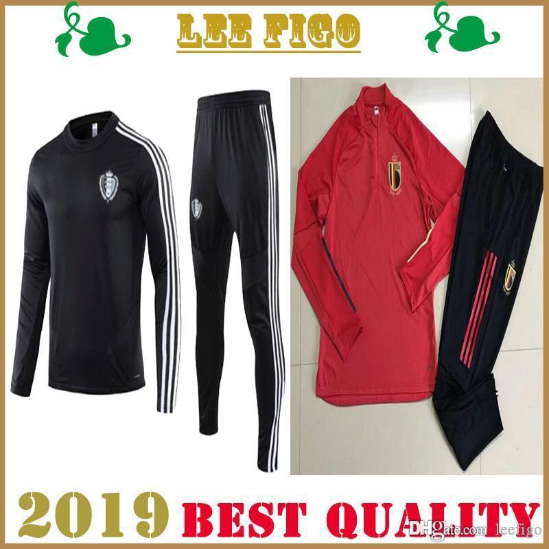 Calidad superior 2020 chándal Copa de Europa de Bélgica Footba jerseys Lukaku FELLAINI E.HAZARD De Bruyne belga del kit del fútbol chaqueta de traje de entrenamiento