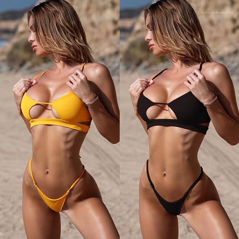 Biquinis Natural Color Designer Womens Swimwear Moda Two Piece Swimwear das mulheres profundo decote em V Sexy oco Out