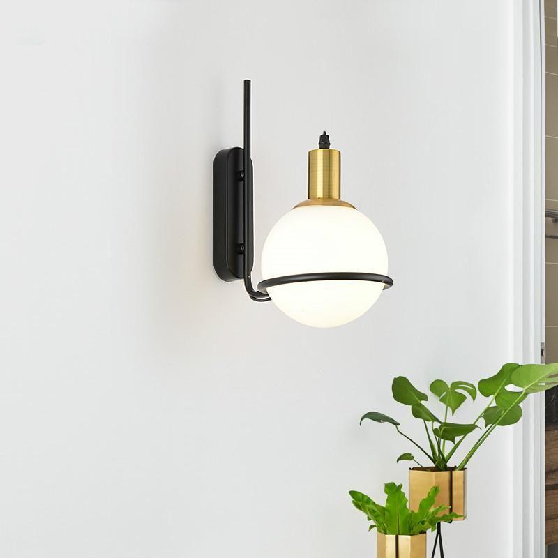 lampade a muro moderna in vetro palla applique globo riparo della parete di lampadari camera da letto comodino apparecchi di illuminazione