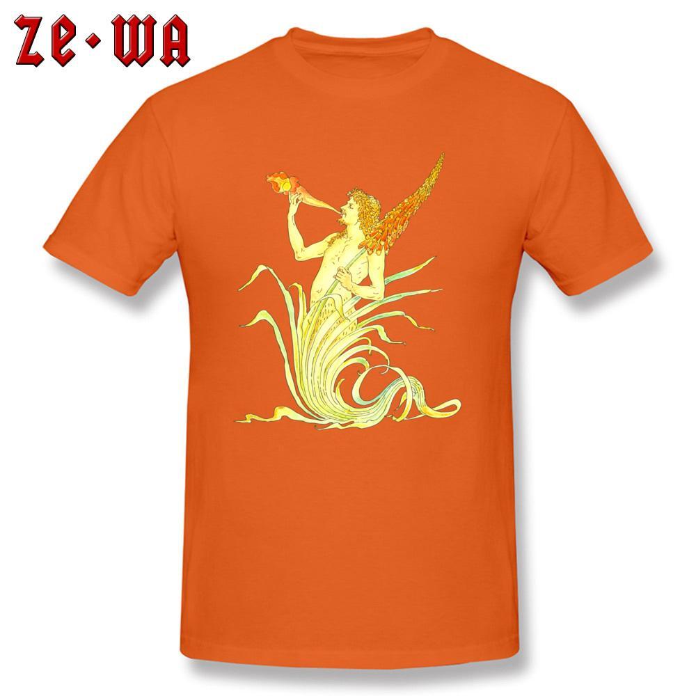 꽃 티 신 스타일 탑 남자 티셔츠 빈티지 오렌지 티셔츠 크루 넥 면화 의류 독특한 디자인 티셔츠 최신