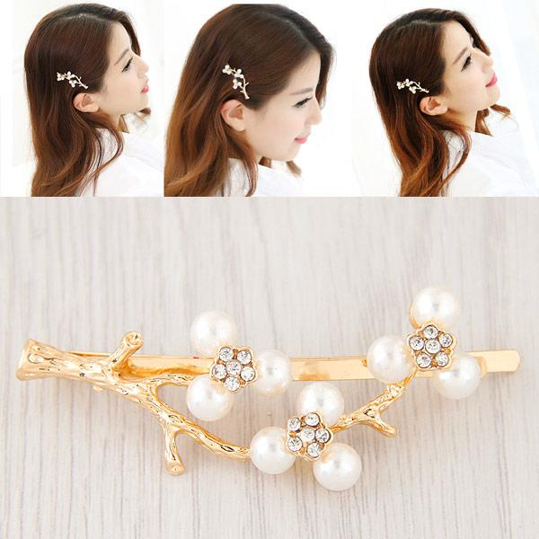 Fashion Vintage Retro Rhinestones Pearls Branches Flowers Barrettes Elegant Personality Word Side Charm Hair Jewelry Accessories Hair Clips