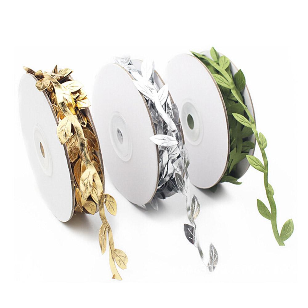 10 متر الملونة الذهبي الأخضر الاصطناعي يترك حفل زفاف التموين الزهور وهمية المنزل الديكور الزهور اليدوية سكرابوكينغ