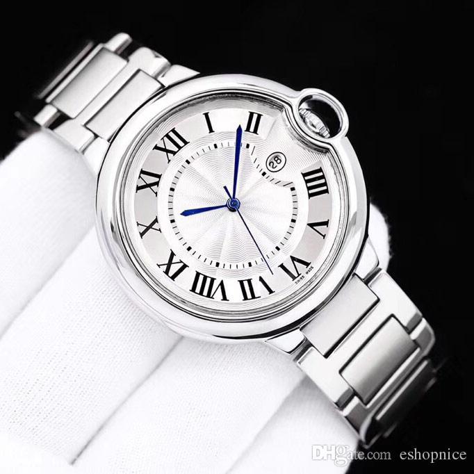 Moda sever erkek kadın saatler moda erkek bayan Valentine hediye için 316 Tam Paslanmaz Çelik bant adam kuvars saati kol saatleri