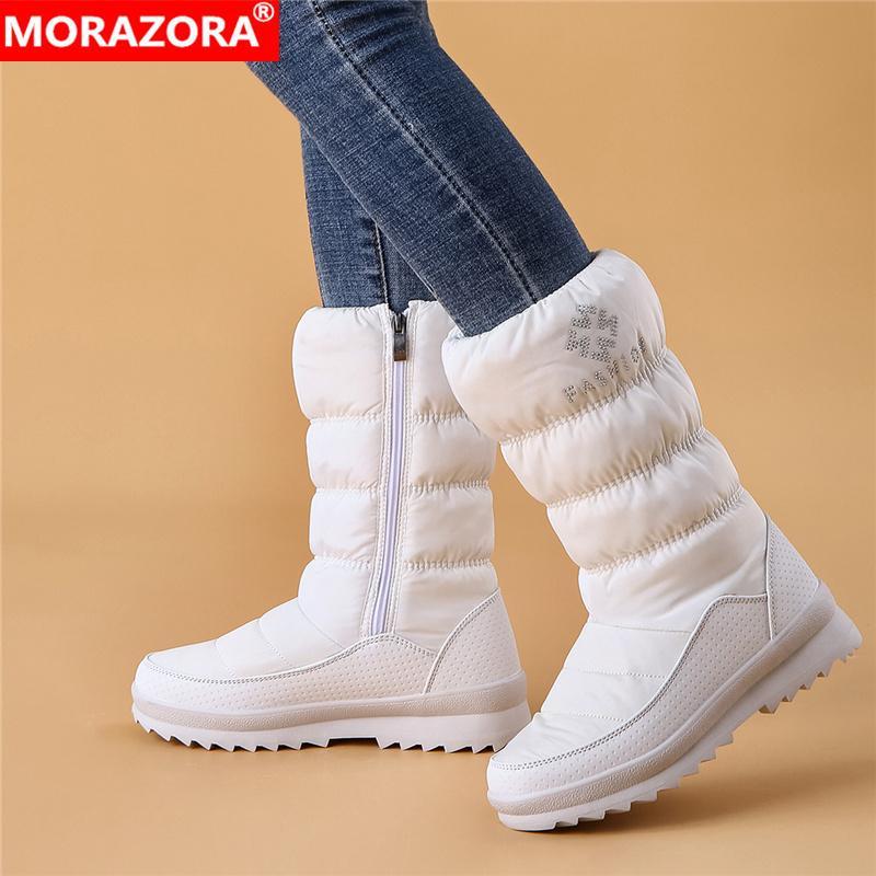 Großhandel große Größe 36-41 Neue warme Schneeschuhe Frauen Reißverschluss Plattform Stiefel solide Farbe wasserdicht Mitte Wade dickes Fell Winterstiefel