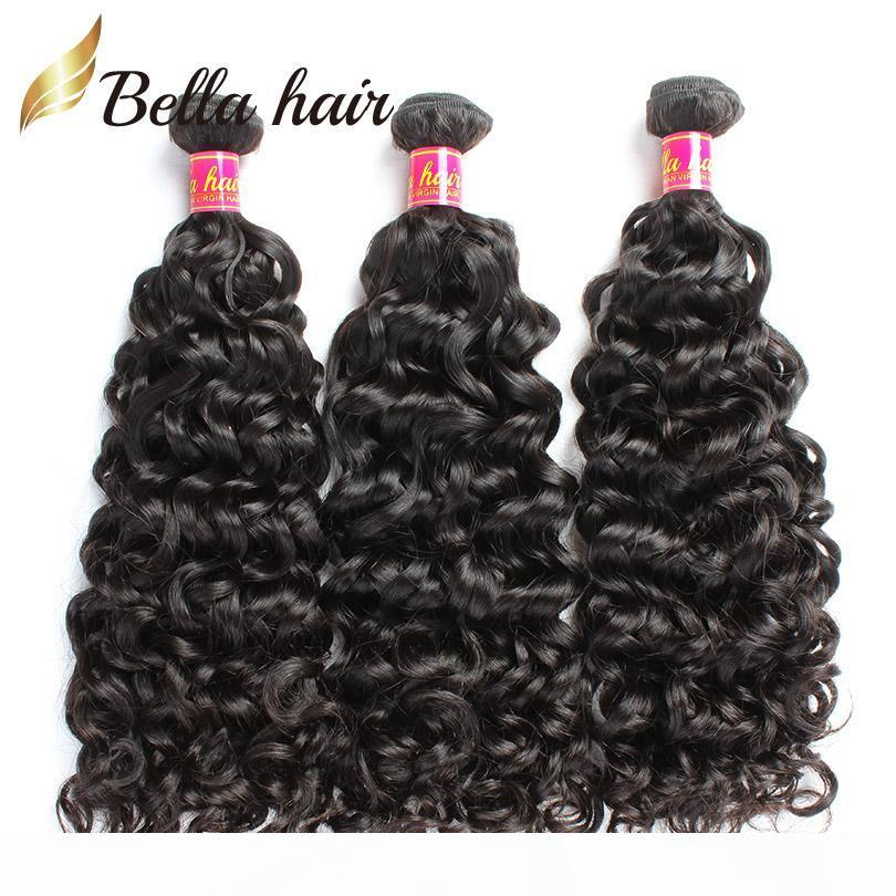 Bella Hair? 8A Water Wave Remy Hair Weaves Brazilian Virgin Hair Natural Color Cambodian Malaysian Indian Peruvian Human Hair Weft
