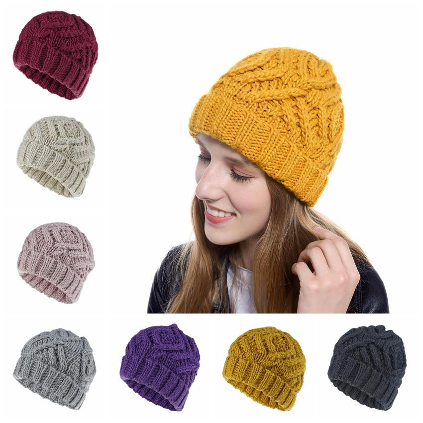 Frauen Strickmützen Hüte Fashion Diamond Square Weiche Grobstrickmütze Outdoor Winter Warm Party Schädel Hüte TTA1532