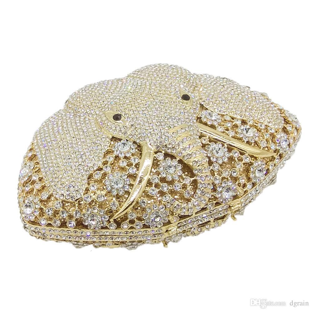 Dgrain Wholesale & Famous Brand Women Crystal Evening Purse Elephant Clutch Bags Bridal Metal Clutches Handbags Wedding Party Clutch Bags