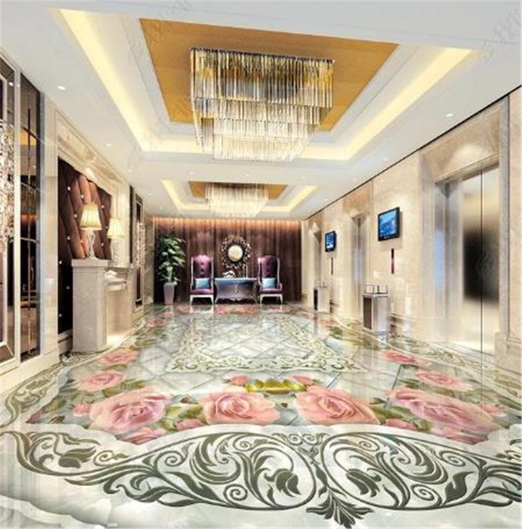 Carta da parati del murale del pavimento della camera da letto del salone 3D del mosaico di pietra impressa marmo di marmo della carta da parati 3d