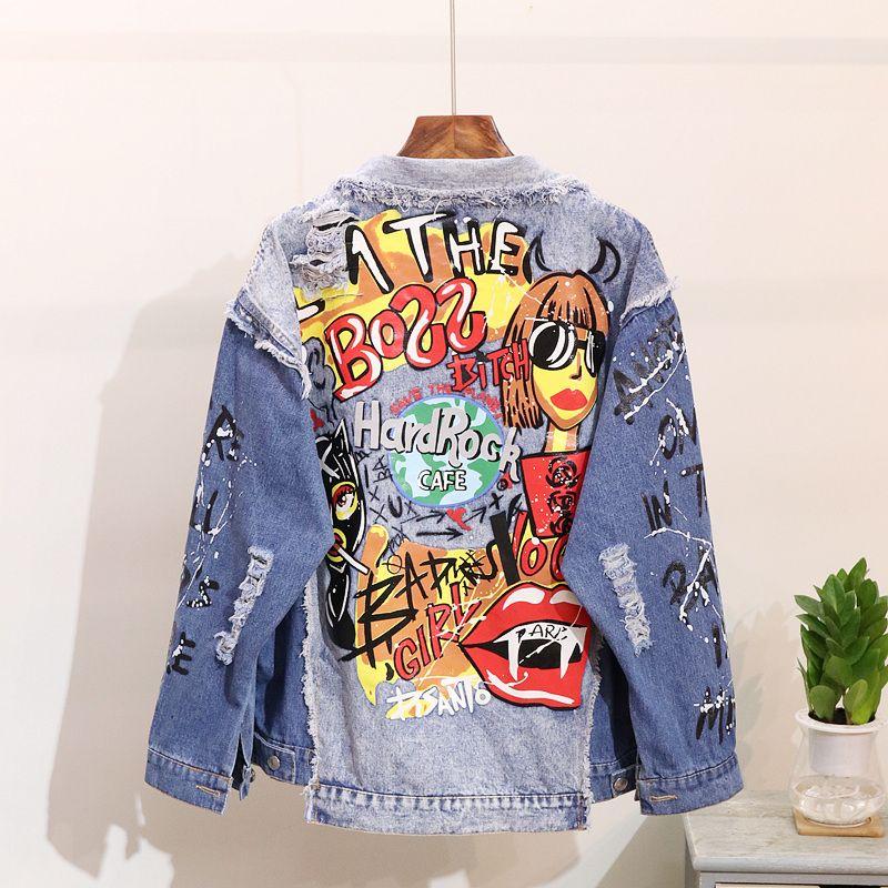Chaqueta de mezclilla de las mujeres Moda Graffiti impresión Diseños de manga larga Suelta Jean Coat Mujer Casual Jaqueta Feminina Señoras Prendas de abrigo