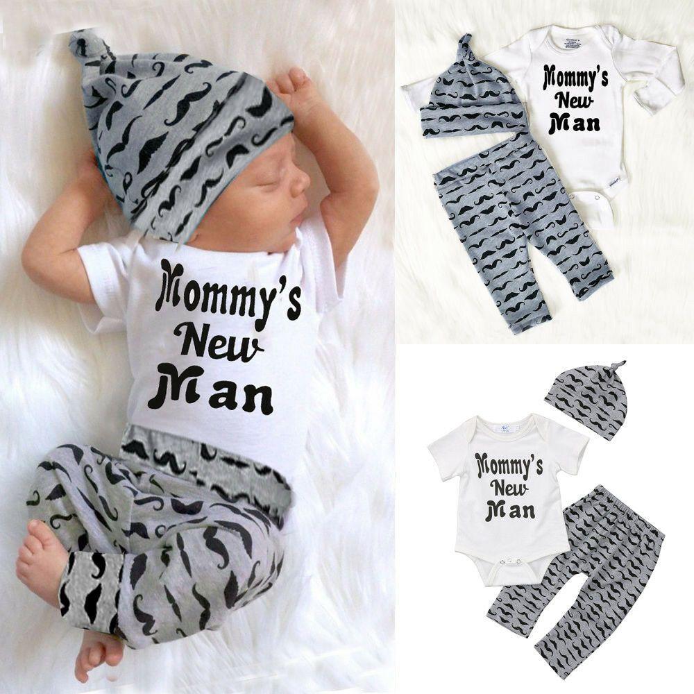3pcs al bebé recién nacido Romper las tapas + pantalones largos Sombrero Trajes Ropa 0-18m